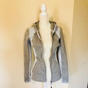 Athleta Grey Hooded Zip Up Jacket